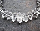 Double Terminated Natural Rock Crystal Point Beads 10-50mm