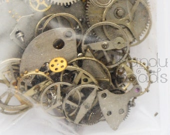 Small Watch Parts, Micro Elements Steampunk Assorted Watch Parts, Clock Cogs, .5 ounce  Micro Inclusions