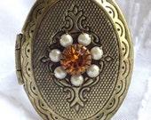Pearl and Orange Swarovski Crystal Bronze Locket Ring