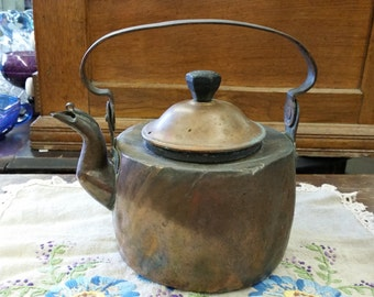 SALE - Primitive Antique Initial Stamped Copper Tea Kettle Possibly Hand Forged from Rustysecrets
