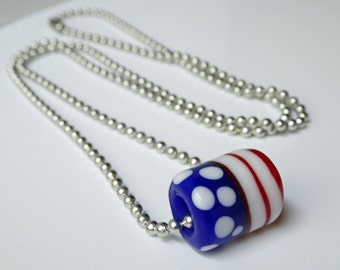"""Artisan Flag - Large Hole European Lampwork - 24"""" chain -  hypo allergenic aluminum ball chain - 4th of July - Military - Red White & Blue"""