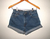 Levi's 550 Zip Fly Shorts Mid High Waist Jeans Blue Denim Womens W 27 cut-off shorts Roll Up