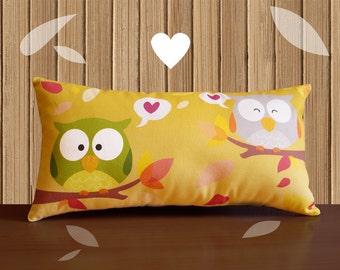 Decorative Pillow -RainbOWL- Yellow/Purple