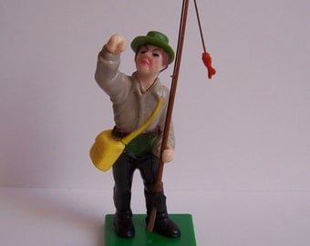 WILTON- Fly  Fisher Cake Topper Vntg 1970's Still in Original Package