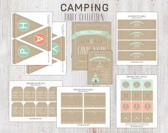 Printable Camping Birthday Party Package : Tribal Birthday, Camping Birthday Invitation, First Birthday Party Package, Party Printables