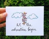 Graduation Card - Let the Adventure Begin // Directional signpost with arrows // Hand lettering, Calligraphy