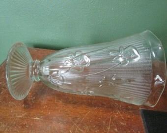Vase Iris and Herringbone Depression Glass 9 Inch Jeanette Glass