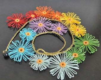 Rainbow Daisy - Rainbow - Paper Raffia Loom Flower Necklace/Collar