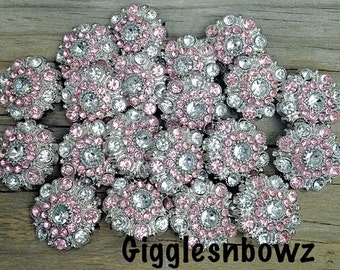 Sale 100pc Rhinestone Buttons- Clear/Pink Acrylic Rhinestone Buttons 28mm- Headband Supplies- Craft Supplies- Diy Wedding- Sewing Buttons