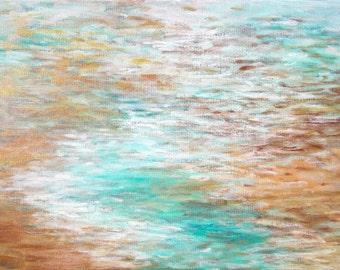 Tropical Escape Original Abstract Painting Coastal Beach Home Decor Contemporary Art 18x24 Canvas aqua white gold copper metallic by Torrant