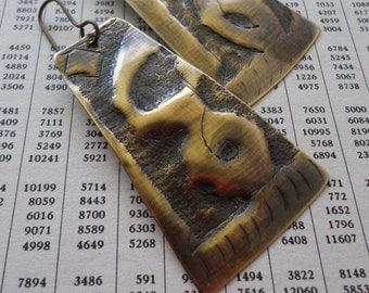 Salvaged Antique Egyptian Brass Dangle Earrings, Exotic Gypsy Earrings, Urban Ethnic Tribal Bohemian Artisan Metalwork Statement Earrings