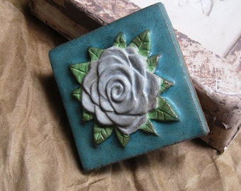 Button Rose Ceramic Accent Tile. High Fired in Paper White or Marigold Yellow.