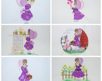 "Machine Embroidered Quilt Blocks set of 12 - Purple Garden Sunbonnets Sue, Size 9""x9"""
