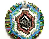 Polymer Clay Pendant with White Nylon Tie Cord - Handmade - Butterfly Multi Color