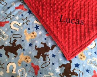 Yeehaw - Cowboy Minky in Blue and Red with Red Minky Baby Blanket - 29 x 35