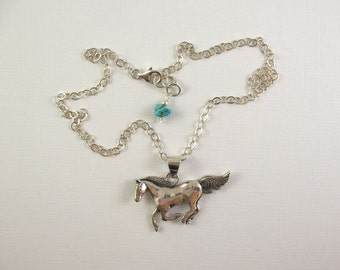 Sterling Silver Horse Pendant on Silver Chain