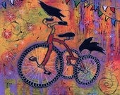 Whimsical Raven and Tricycle Gallery Wrap Canvas Print titled Spectacular Fun