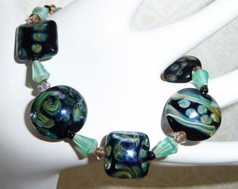 Beutiful Blue Green Marble Lampwork and Crystal Beads Bracelet - B1700