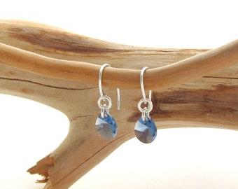 Fancy Ear Wire with Blue Denim Swarovski Teardrop