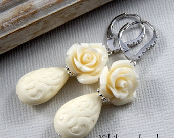 Cream Rose And Teardrop Earrings