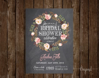 Floral and Chalk Board Bridal Shower Invitation with envelope