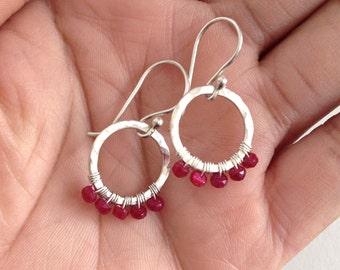 Sterling Silver Red Ruby Hoops. Small Gemstone Ruby Hoop Earrings. Natural Red Ruby Gemstone Circle Earrings. 925 Silver Dangle Round Hoops