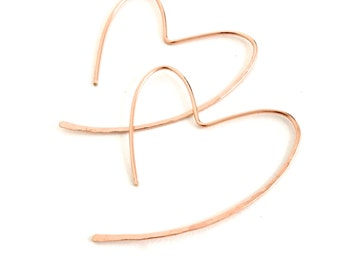 Rose Gold heart hoops. Heart Hoop Earrings in Rose Gold.