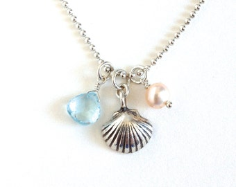 Beach Necklace. Sterling Silver Clamshell Blue Topaz Pearl Necklace. Beach Nautical Themed Necklace.