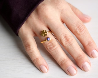 Four Leaf Clover Ring ,  Evil Eye Ring , Sterling Silver Ring  , Gold Evil Eye Ring , Adjustable Ring , Knuckle Ring , Stackable Ring