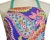 Cute Apron Monogrammed Apron Purple Paisley — Ready To Ship