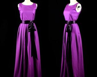 Purple Cotton Maxi Dress - Size Medium - FREE SHIPPING WORLDWIDE