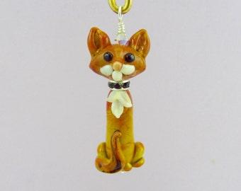 Ruddy Somali Cat - Handmade Lampwork Glass Creation SRA