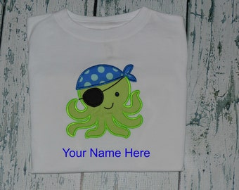 Personalized Pirate Octopus Shirt or  Bodysuit