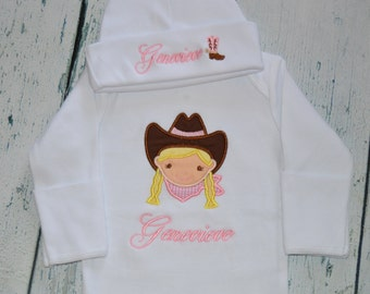 Personalized Cowgirl Infant Gown and Cap Set Layette Baby Gift