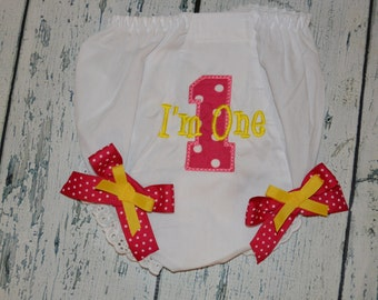 Personalized Birthday Bloomers Monogram Diaper Cover First Birthday