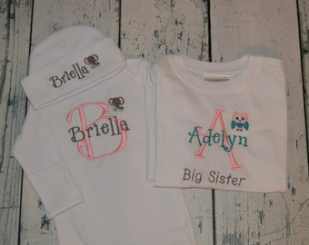 Personalized Sibling Set -  Big Sister Little Sister  - Gown and Hat set and Shirt