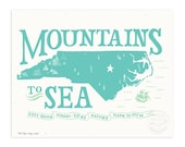 NC Mountains to Sea, Icy Blue Illustrated Art Print