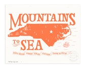 NC Mountains to Sea, Poppy Red Illustrated Art Print