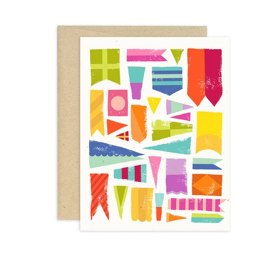 Smooth Sailing Flags Illustrated Greeting Card