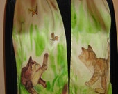 Cats Playing with Butterflies - hand painted silk scarf