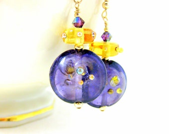 Purple Gold Glass Earrings, Dangle Earrings, Lampwork Earrings, Statement Earrings, Pretty Earrings, Unique Earrings, Gold Filled Earrings