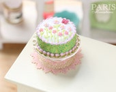 MTO-Summer Garden Cake Iced with Flowers and Butterfly - Miniature Food in 12th Scale for Dollhouse