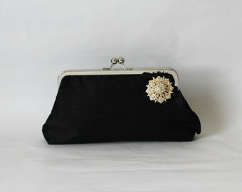 Wedding Clutch - Bridal Clutch - Wedding Purse - Bridesmaids Clutch - Black Bridal Clutch - Black Purse - Bridesmaids Gift - Giselle Clutch