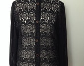 French vintage 1980s black lace shirt with bouffant wide transparent sleeves - medium M