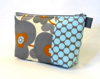 Amy Butler Morning Glory Fabric Large Cosmetic Bag Zipper Pouch Padded Makeup Bag Cotton Zip Pouch Slate Gray Blue Rust Polka Dots MTO