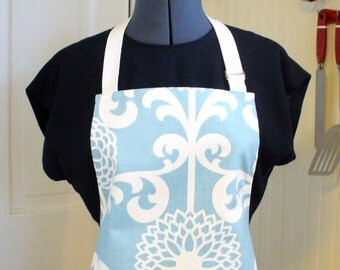 Womens Apron Full Apron Chefs Apron Adjustable Apron Fun Floret Sky Blue and White Floral Mums Handmade MTO