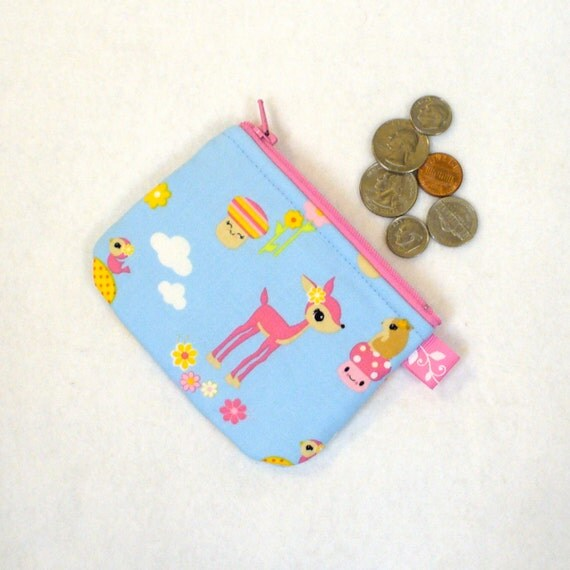 Mini Coin Purse Toyland DEER Mushrooms Zipper Change Purse Handmade Kawaii Blue Pink MTO
