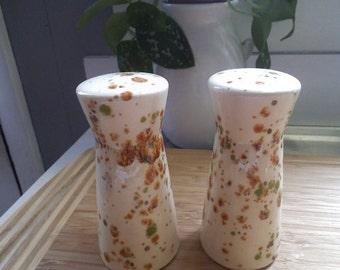 Glazed Ceramic ~ Salt and Pepper shakers ~ vintage 1970s Mid Century Modern