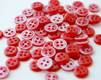 Red Buttons - 3/8 inch - Set of 60