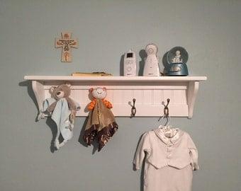 Wood Wall Hanging Coat Rack Display Room Shelf